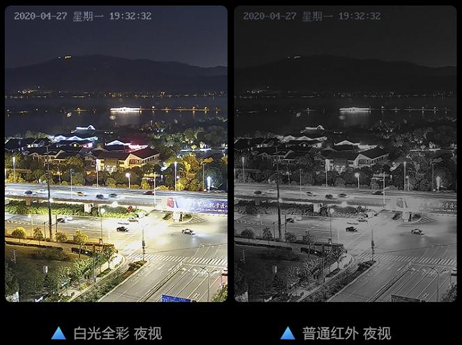 白光全彩摄像机与普通红外效果对比